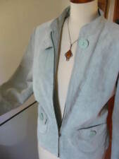 Ladies NEXT pale mint green real suede leather JACKET size UK 14 12 lightweight