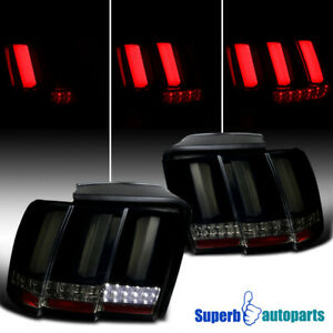 For 1999-2004 Ford Mustang Sequential LED Tail Lights Lamps Glossy Black Smoke