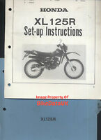 Honda XL125R (1982-1985) Genuine Factory Issue PDI Set-Up Manual XL 125 R CB39