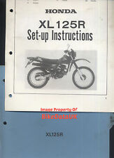 HONDA ORIGINALE XL125R (1982- >) CONCESSIONARI SET-UP MANUALE XL 125 R JD04