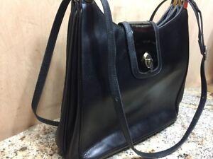 Vintage Lederer Black Leather Patent Flap Lock Long Strap Handbag Leather Interi