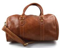Borsone uomo donna borsa viaggio con manici e tracolla vera pelle marrone opaco