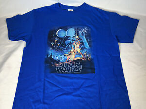 Star Wars 1977 Movie Poster T Shirt Blue Luke Skywalker Retro Youth MEDIUM