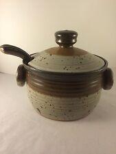 Vintage Collectible Pottery Soup Tureen Bean Pot Unique Marking With Ladle