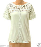 Anthropologie Lace Yoke Tee XSmall 0 2 Pale Green Cotton Grosgrain Trim Top NWT