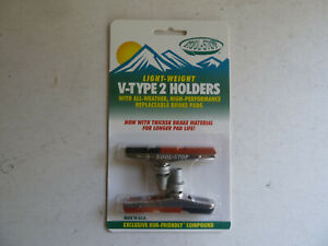Kool Stop V Type 2 holder, threaded, dual compound, silver