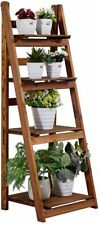 Wood Foldable Ladder Shelf Display Bookcase Storage Bookshelf 4 Tier Plant Stand