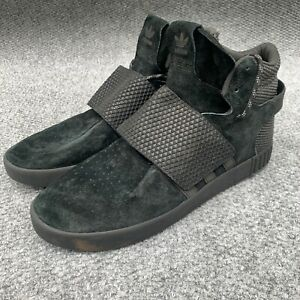 Adidas Sneakers 12 Tubular Invader Strap BB 1398 Black Suede Mens Size High Top