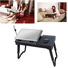 Laptop Table Tray Desk W/Cooling Fan LED Tablet Desk Stand Bed Black Foldable