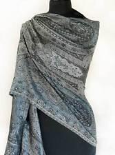 Iridescent Silk Jamawar India Paisley Shawl Black & White Jamavar Wrap Pashmina