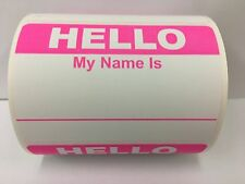 "250 Labels 3.5""x 2.375"" PINK Hello My Name Is Badge Tag Identification Stickers"