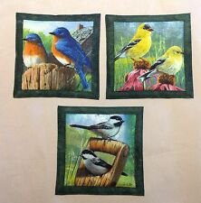 "Mug Rug Coasters Song Birds 4"" By 4"" Handmade Quilted Set Of 3 100% Cotton."