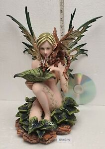 Large Nude Tribal Forest Fairy Feeding Dragon Statue Mythical Figure