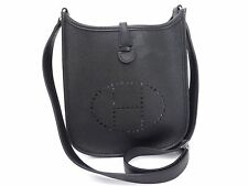 Auth HERMES Veau Epson Evelyne TPM Shoulder Bag Pochette Black Unused U832