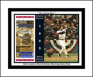 ATLANTA BRAVE 1995 WORLD SERIES CHAMP MATTED COLLAGE OF JUSTICE HR@WS TICKET