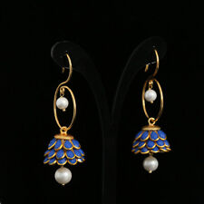 BOLLYWOOD FASHION LONG BLUE PACHI JHUMKI BALI EARRINGS FOR WOMEN AND GIRLS
