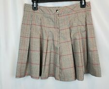 Divided H&M Brown Red Ruffled Plaid Academia School Girl Uniform Skirt Size 8