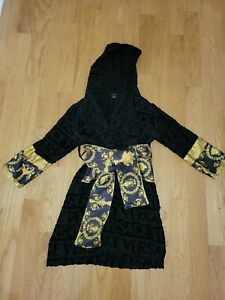 Versace Kids Baroque Hooded Robe Black Size XL (8-10Y)