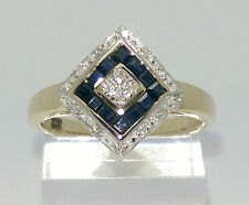 Lovely 9ct Yellow Gold Sapphire & Diamond Cluster. **Size`s M + O in Stock.**