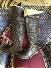 SPRING-Ryles OVER KNEE BOOTS Faux SHEARLING BROWN SZ 38 US 7M Women's