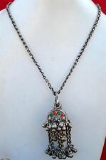 Antique Tribal Old Silver Box Pendant Chain Necklace