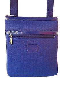 Michael Kors Signature MK Neoprene Patent Leather Crossbody Messenger Bag Purple