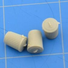 """3/8"""" Garbage Cans Lot of 3 Trash Containers Gray Small Miniature HO Scale Train"""