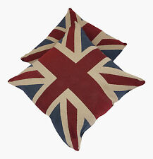 A Pair of Vintage Union Jack Cushions (Complete with Pad )