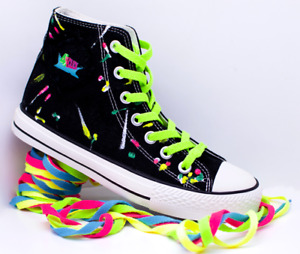 Men's Black High Top Canvas Shoe Hand Painted  with 4 Pairs of Coloured Laces