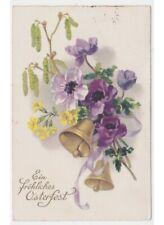 1932 campane pasquali decorazione fiori primaverili cartolina vintage Ostern
