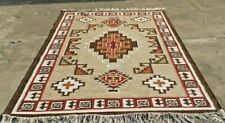 Large Wool Kilim Navajo Southwestern Bohemian Gray Rug 6'x9' Handmade Rug Carpet