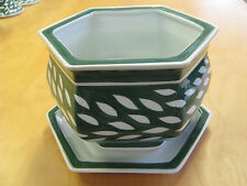 REDUCED - HANDPAINTED Green & White Plant Pot with Saucer / Cachepot - NEW