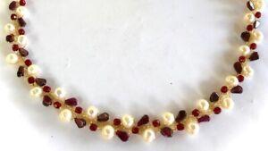 "Aloha Necklace January Garnet Gemstones, Cultured Pearls, Crystal 18"" 14KYGF"