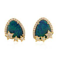 2.65ct Opal Pave Diamond 18kt Yellow Gold Star Stud Earrings Handmade Jewelry