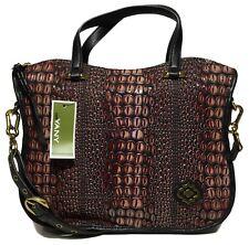 NWT orYANY Woman's Leather Satchel Embossed Black/Wine Color MSRP: $489.00