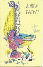 #26 MCM New Baby Bunny Bassinette Puppy Glitter Vintage Card Unused French Fold