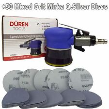 "75mm Mini Palm Air Sander 3"" +50 Mix Sanding Discs Car Body & Alloy Wheel Repair"