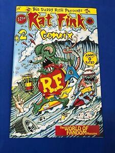 """RAT FINK COMIX #2 ED """"BIG DADDY"""" ROTH  HOT ROD  CUSTOM CARS COMIC 1991 HTF NM+"""