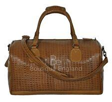 Holdall Men's Weekend Bag Tan Croc Print Duffel Travel Gym 100% Real Leather Bag