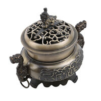 Chinese Incense Burner Lotus Flower Hollow Cover Censer Cone Holder Gift MA