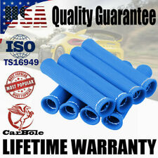 8PCS 2500° SPARK PLUG WIRE BOOTS HEAT SHIELD PROTECTOR SLEEVE SBC BBC BLUE COVER