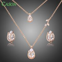 Lotus Rose Gold Earrings & Necklace Fashion Jewelry Set for Women Christmas Gift