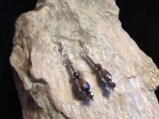 gun metal metallic faceted & seed bead silver plated hook earrings
