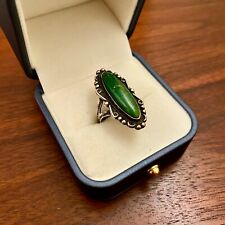 Silver Dark Green Webbed Turquoise Ring Fred Harvey Era Native American Sterling