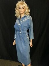 Vtg 80s Denim Jean Dress Pencil Skirt Dolly Dolman Textured Floral INTICEMENT M
