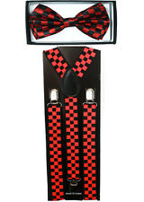 Checkered Red SUSPENDERS and BOW TIE COMBO SET Unisex Adjustable Suspender
