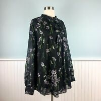 SIZE 20W Ralph Lauren Chiffon Overlay Floral Shirt Top Blouse Womens Plus 2X NWT