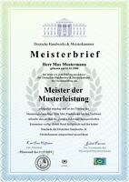 Premium Meisterbrief, Urkunde, Zeugnis, personalisiert und fälschungssicher A4