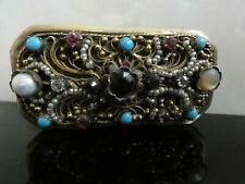 Gold Solid Silver Paste Stones Pearls Unique Antique Austro Hungary Large Brooch