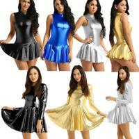 Women One Piece Wetlook Bodycon Mini Dress Skirt Leotard Top Party Clubwear